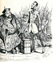"""French cartoon about the British and their """"sales"""" of Opium to the Chinese"""