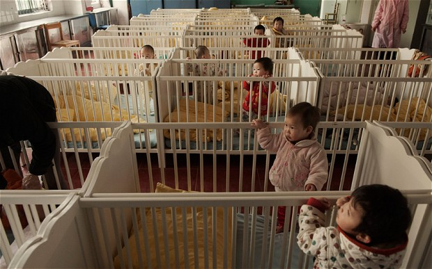 Orphans in a dorm at the Shenzhen Welfare Centre Photo- Gilles Sabrie