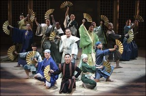 B.D. Wong (center) and the company of Pacific Overtures photo by Joan Marcus