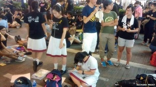 Students doing their homework in Hong Kong's street protest