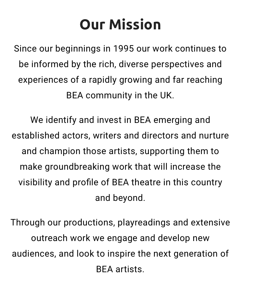 Screen shot of YET mission statement